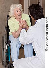 醫生, 由于, 病人, 上, 輪椅