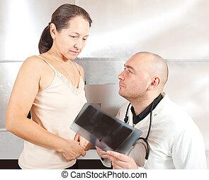 醫生, 由于, 病人, 看, x光