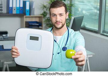 醫生, 由于, 規模, 以及, 蘋果, 在上方, 保健, 背景