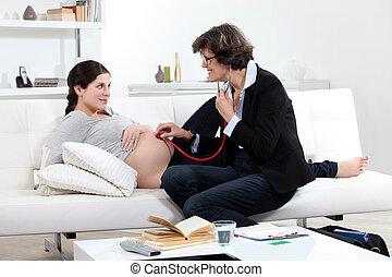 醫生, 由于, a, 怀孕的婦女