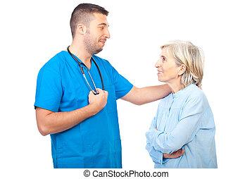 醫生, 男性, 逆行, 由于, 年長者, 病人