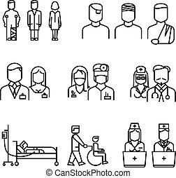 醫生, 病人, 護士, 稀薄的線, 圖象, 集合