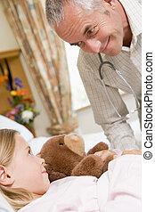 醫生, 的談話, 他的, 年輕的病人