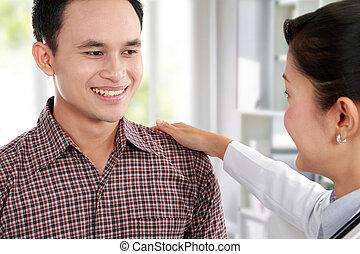 醫生, 的談話, a, 男性, 病人