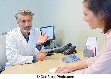 醫生, 的談話, a, 病人