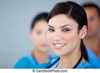 醫生, 看, 照像機, 女性, 肖像, charismatic