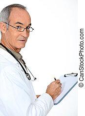 醫生, 站, 由于, 剪貼板