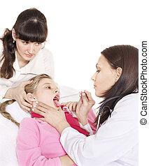 醫生, 考試, 孩子, 由于, 疼痛, throat.
