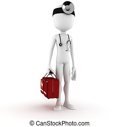 醫生, 背景, 白色,  3D, 人
