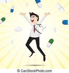 醫生, 藥丸, 跳躍, 醫學, 卡通, 幸福