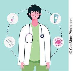 醫生, 藥物處理, 聽診器, 健康, 注射器, 關心, 醫學, 接種
