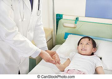 醫生, 訪問, 孩子, 病人, 上, 沃德