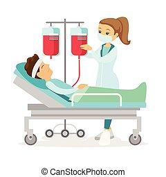 醫生, 訪問, 病人, 躺, 在, 醫院, bed.