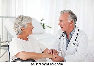 醫生, 講話, 由于, 他的, 病人