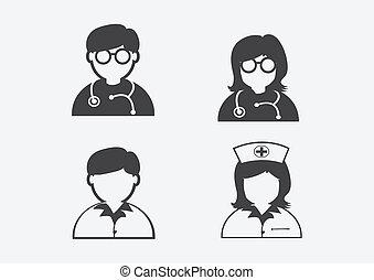 醫生, 護士病人, 有病, 圖象, 簽署, 符號, pictogram