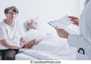 醫生, 閱讀, 報告, 到, 病人
