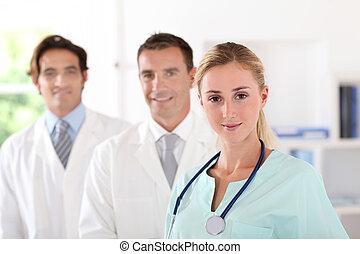 醫療隊, 站立, 在, 門診部, 房間