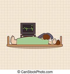 醫院, 主題, 病人, 元素, 矢量