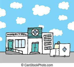 醫院, 以及, 救護車