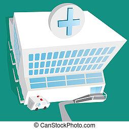 醫院, 入口, 以及, 救護車