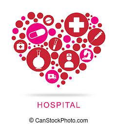 醫院, 圖象, 顯示, 保健, 以及, 門診部