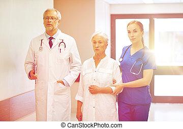 醫院, 婦女, 病人, 年長者, 軍醫