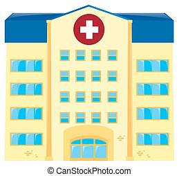醫院, 建築物, 在懷特上, 背景