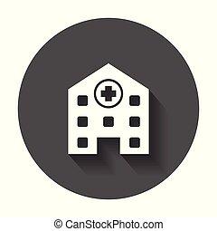醫院, 建築物, 矢量, icon., 醫院, 醫學的診所, 簽署, 插圖, 上, 黑色, 輪, 背景, 由于, 長, shadow.