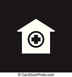 醫院, 建築物, 矢量, icon., 醫院, 醫學的診所, 簽署, illustration.