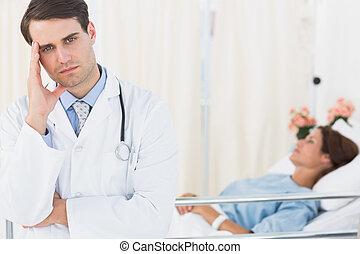 醫院, 擔心, 病人, 醫生