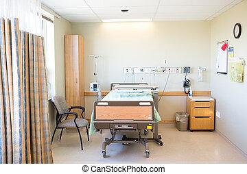 醫院, 椅子, 房間, 床