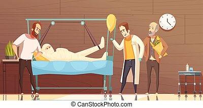 醫院, 病人, 參觀者, 卡通, 插圖
