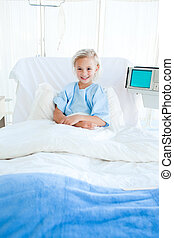 醫院, 病人, 年輕, 床, 坐