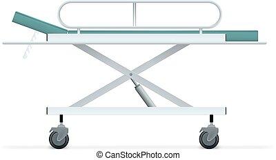 醫院, 病人, 床, 被隔离, 在懷特上