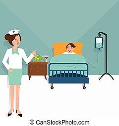 醫院, 護士病人, 在 床, 房間, 有病, 保健, 治療, 門診部