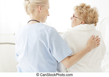 醫院, 護士, 床, 坐