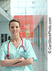 醫院, 護士, 站立, 在, a, 走廊