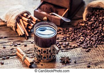 醸造された, コーヒー, におい, シナモン, 新たに