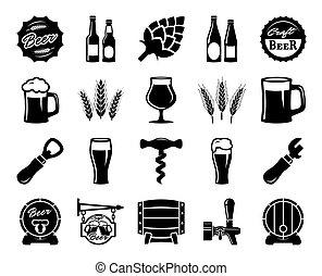 醸造, セット, 原料, アイコン, ビール, 黒, culture., 消費者