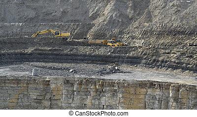 采石場, 挖掘者, 以及, 傾卸卡車
