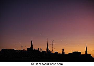 里加, 螺旋, 黑色半面畫像, 傍晚, 大教堂, 公雞