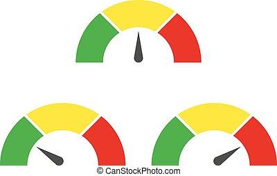 里程計, 或者, 規定值, 米, 簽署, infographic, 量規, element., 矢量, 插圖