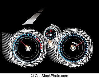 里程計, 水平, 車頭表, -, 儀表板, 汽車, 燃料, 傳感器