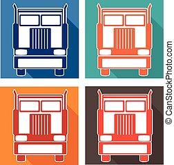 重いセット, サービス, アイコン, 自動車, イラスト, ベクトル, トラック
