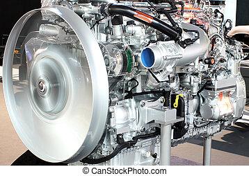 重い, エンジン, トラック, クローズアップ