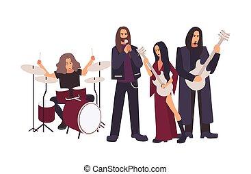 重い, コンサート, 毛, gothic, 歌うこと, stage., 隔離された, 長い間, バックグラウンド。, 音楽, 白, 平ら, 男性, リハーサル, バンド, の間, 漫画, 女性, illustration., 実行, 金属, 遊び, ベクトル, 岩, ∥あるいは∥