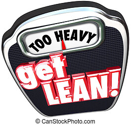 重い, スケール, 得なさい, 効率的である, lighten, lean, の上, 生産的である, t, 言葉