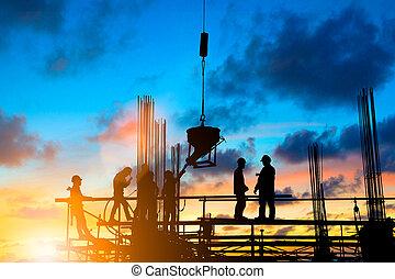 重い, セクター, 産業, シルエット, 足場, 人々, 産業, 上に, 仕事, ぼんやりさせられた, 計画, 安全, 労働者, 背景, 建設, エンジニア, pastel., concept., 従いなさい, 計画