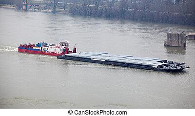 重い, タグボート, 押す, てんま船