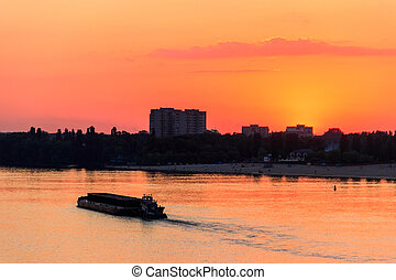 重い, タグボート, dnieper, 押す, 長い間, 日没, てんま船, 川